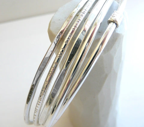 sterling Silver Bangle - set of 5 -