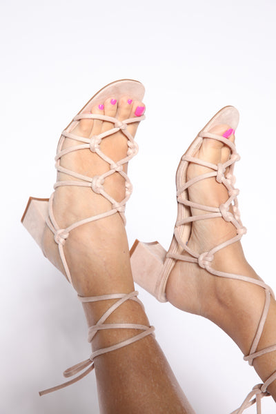 Braided And Weaved Chunk Heels Nude