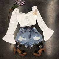 Peasant Embroidered Lace Up Top