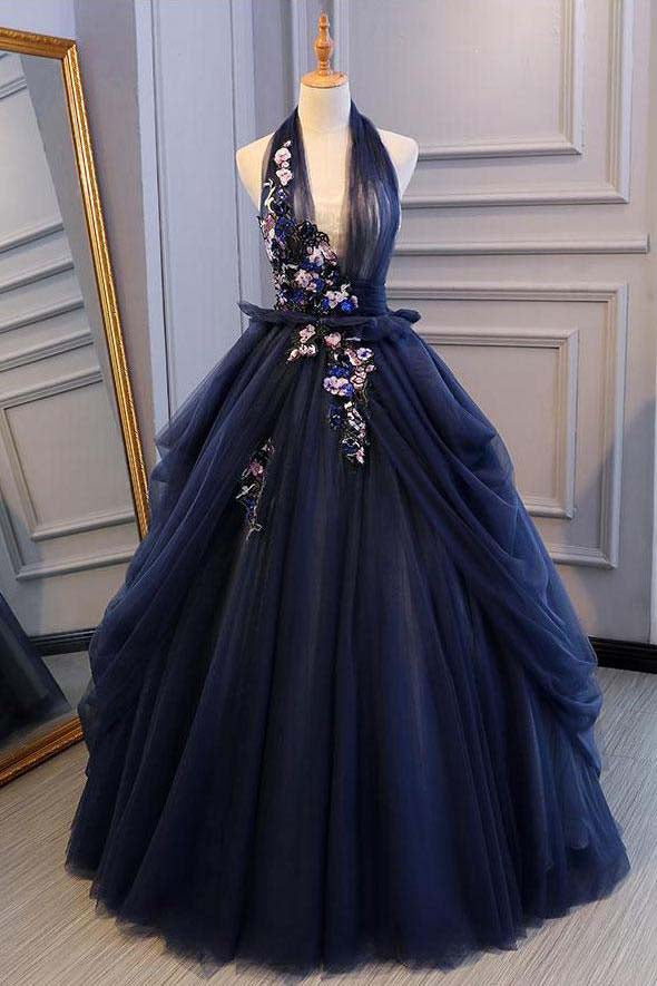 Ball Gown Blue Tulle Lace Long Prom Dresses Deep V Neck Backless Evening Dresses PW469