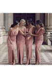Charming Sheath V Neck Prom Dresses Slit Pink Long Bridesmaid Dresses PW515