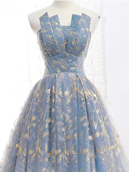 Elegant A Line Blue Tulle Long Strapless Lace up Gold Evening Dress,Prom Dresses uk PW223