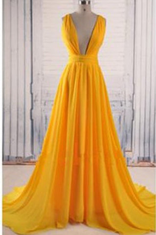 Backless Prom Gown,Open Back Chiffon Evening Dress H28