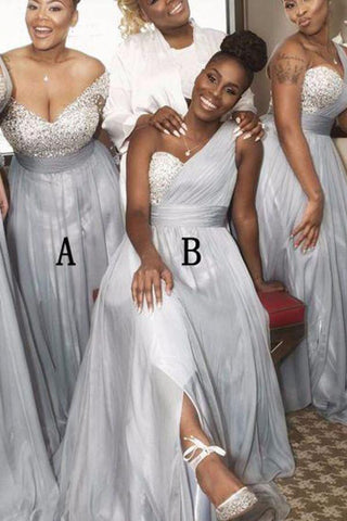 A Line Sweetheart One Shoulder Grey Beading One Shoulder Bridesmaid Dresses uk PW280