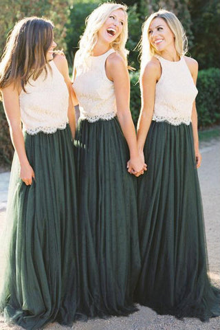 A Line Lace Bodice Green and White Tulle Long  Round Neck Bridesmaid Dresses UK PW285