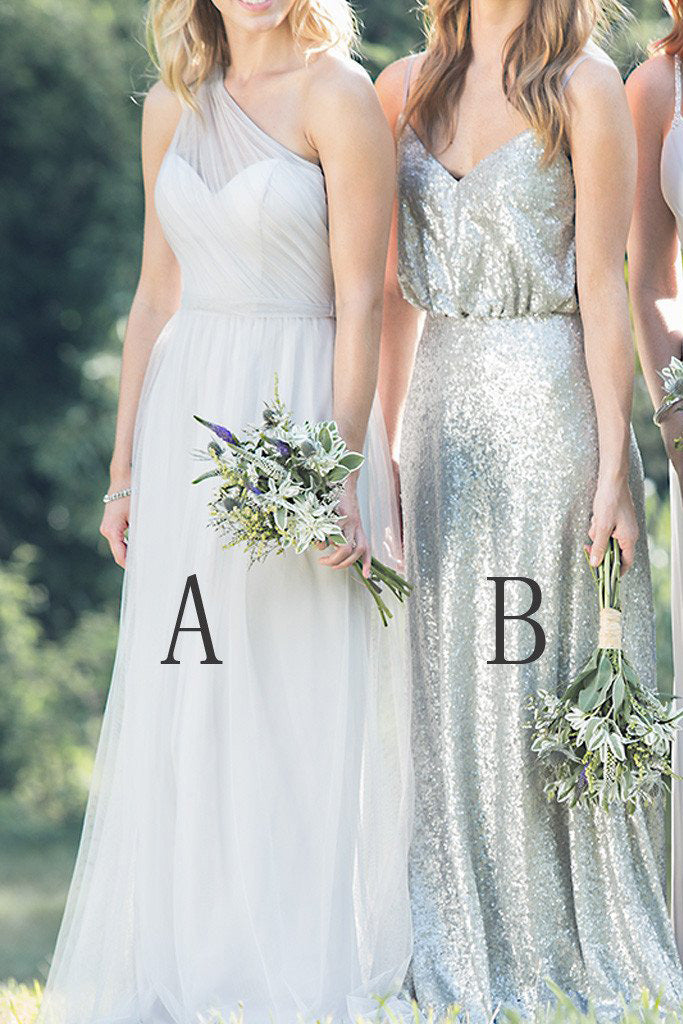 Mismatched Chiffon Sequin A Line Spaghetti Straps One Shoulder Cheap Bridesmaid Dresses PH414