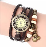 Casual leather bracelet cum wristwatch