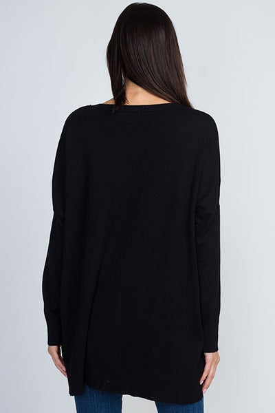 Dreamers Boat Neck Soft Sweater-Black