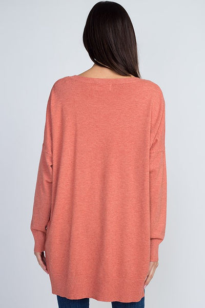 Dreamers Boat Neck Soft Sweater-Rose Coral