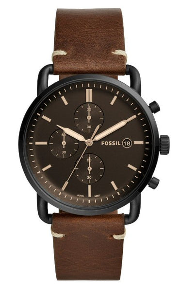 Fossil Commuter Chronograph Watch with brown leather strap. Shop Bennetts for the brands you want at a great price.