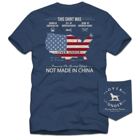 Over Under American Hands t-shirt has spot on styling and made in the USA. Shop Bennetts Clothing for the best names in mens outdoor clothing