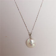 Coin Pearl Pendant on Sterling Silver chain (2 Colors to choose)