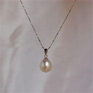 11-12 mm Pearl Pendant on Sterling Silver chain (3 Colors to choose)
