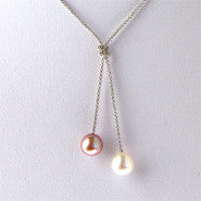 10.5 mm Twin Pearl Pendant on Sterling Silver chain (3 Colors to choose)