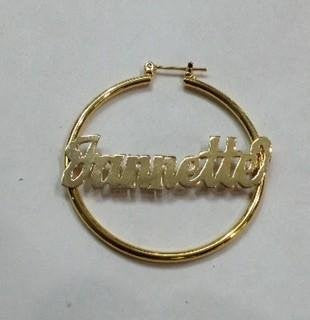 14k gold overlay 1 1/2 inch  name hoop earrings Personalized /gifts birthday idea/g4 - myfamilystore