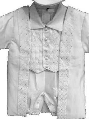 Baby Boy Toddler Christening Baptism White Outfit with Hat S to Xl /2672 - myfamilystore