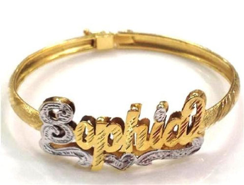 baby 14k Gold Overlay Any 3d Name Bracelet Bangle Personalized - myfamilystore