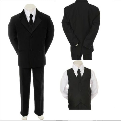 Toddler Baby Boy Black Tie Tuxedo Suit Christening Baptism Wedding Size 3t - myfamilystore