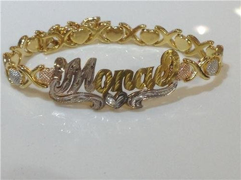 Personalized 14k GP Double any Name Plate xoxo bracelet/gift idea/hugg kisses/u - myfamilystore