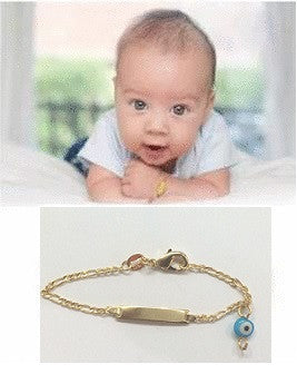 14K gold overly baby id Bracelet with Protection evil eye /christening baptism baby shower gift - myfamilystore