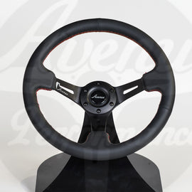 AVENUE STEERING WHEEL BLACK LEATHER/ RED STITCH/ BLACK SPOKES