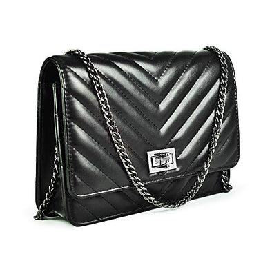 Shoulder Bag Crossbody Quilted Purse for Women With Adjusting Metal Chain Strap
