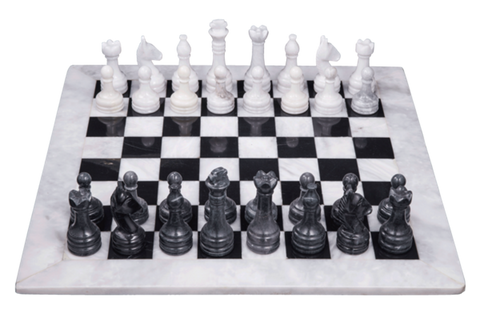 Chess Sets - Black & White with Personalization - Marble Products International