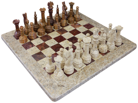 Chess Set- Fossil Stone & Red Onyx with Personalization - Marble Products International