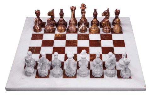 Chess Set- Red Onyx & White Marble with Personalization - Marble Products International