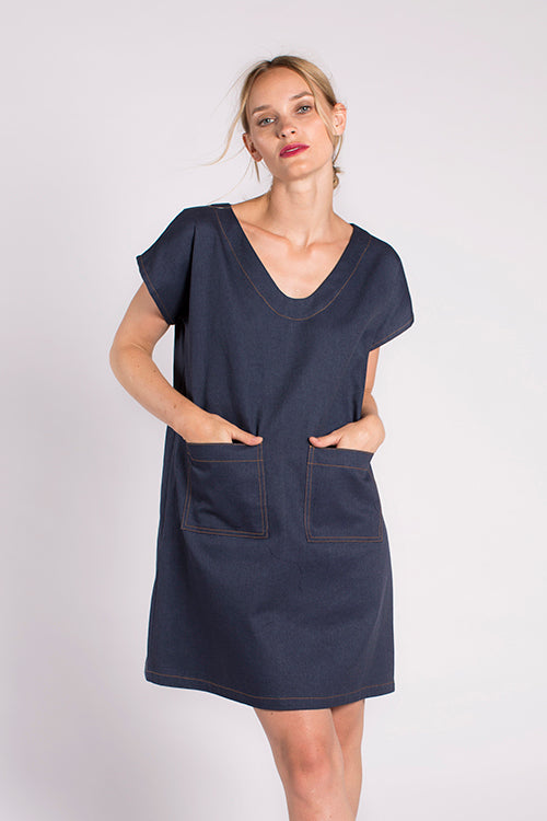 Nari Denim Pocket Dress in Indigo