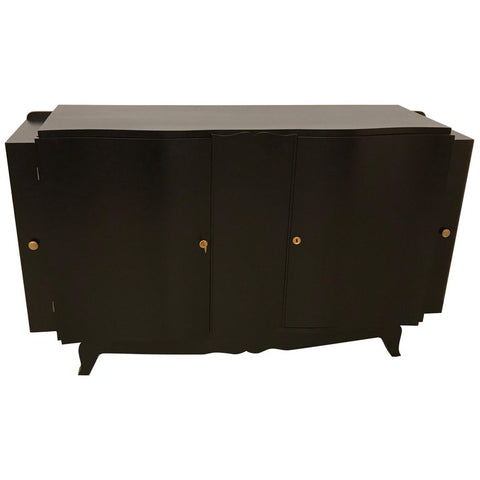 French Art Deco Black Lacquered Sideboard or Buffet with Dry Bar