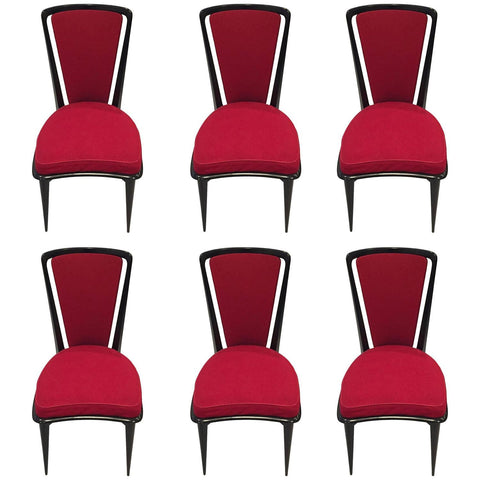 French Art Deco Black Lacquer Dining Chairs Set of Six