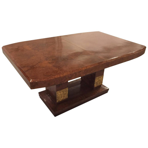 Burl Amboyna French Art Deco Dining Table