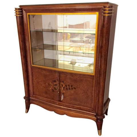 French Art Deco Vitrine or Display Cabinet in the Style of Jules Leleu