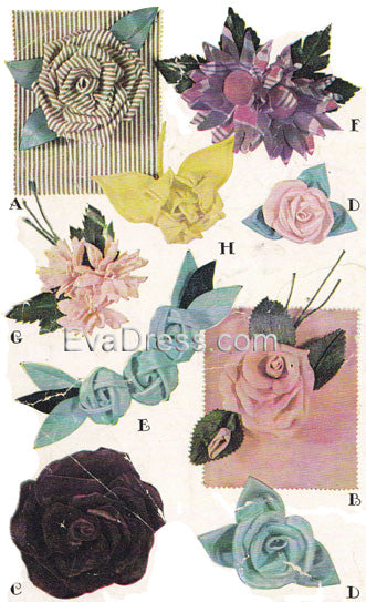 E-PATTERN 1946 Fabric Flowers E1246