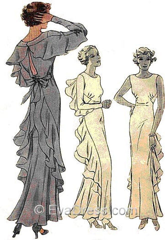 1934 Finned Evening Gown, E30-7858