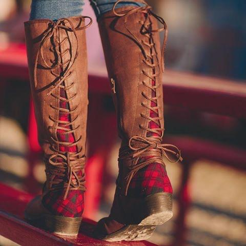 Marcel Red Plaid Boots