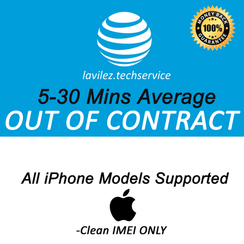 AT&T OUT OF CONTRACT iPhone FAST UNLOCK 5-30 MINUTES