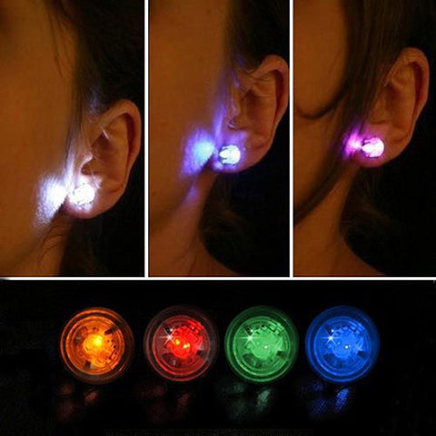 1 Pair Light Up LED Bling Earrings Ear Studs Dance Party Accessories Blinking Wholesale Free Shipping