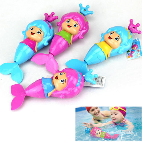 1 Pcs Baby Cute Mermaid Clockwork Dabbling Bath Toy Classic Swimming Wound Up Toy Water Wind Up Cartoon Educational Learning Toy