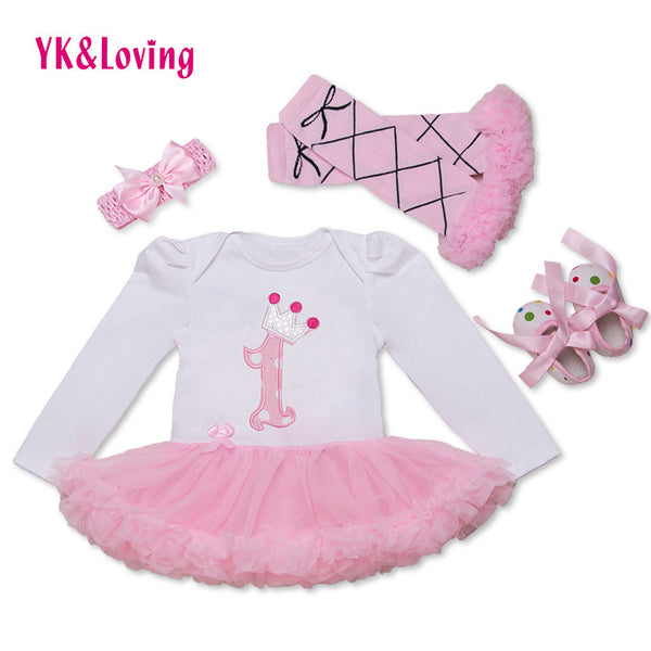 2016 baby girl clothes Dress of Girl bodysuit Christening Gowns Next Girls Princess Party Childen Clothing Set Funny Birthday