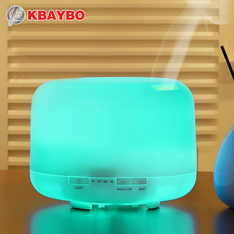500ML Aromatherapy Essential Oil Diffuser Ultrasonic Air Humidifier with 4 Timer Settings 7 LED Color Changing Lamps 10 Hours