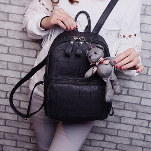Bolish Embroidery Plaid Pu Backpacks Women 03