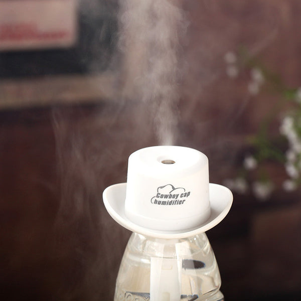 Portable USB cowboy hat DC 5V Mini humidifier outlet aromatherapy spray machine Household water bottle cap humidifier