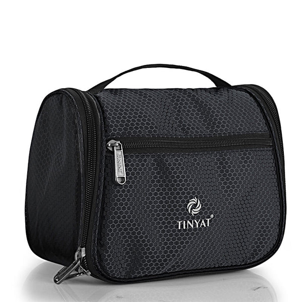 TINYAT Men Travel Wash Bag Women Toiletries Bag graceful Female Makeup Bag Travel Case T702 Black