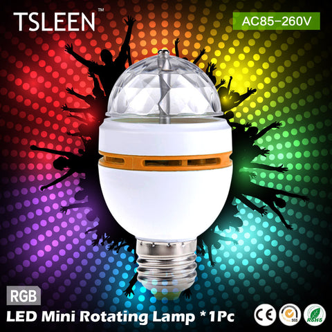 +Cheap+ NEW E27 3W Colorful Auto Rotating lampada 85-260V Bulb Stage Light Party Lamp Disco MIni RGB LED Nightlight # TSLEEN