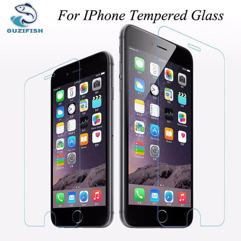 (OUZIFISH)0.26mm Ultra-thin Premium Tempered Glass Screen Protector for iPhone 4 4S 5 5s 5c 6 6S 7 PLUS Anti scratch Cover Case