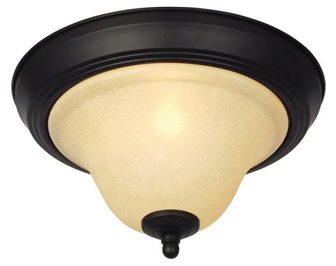 Elena One-Light Indoor Ceiling Fixture, Dark Bronze Finish with Antique Amber Glass