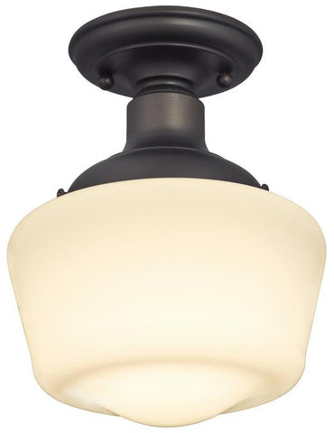 Scholar One-Light Indoor Semi-Flush Ceiling Fixture, Oil Rubbed Bronze Finish with White Opal Glass