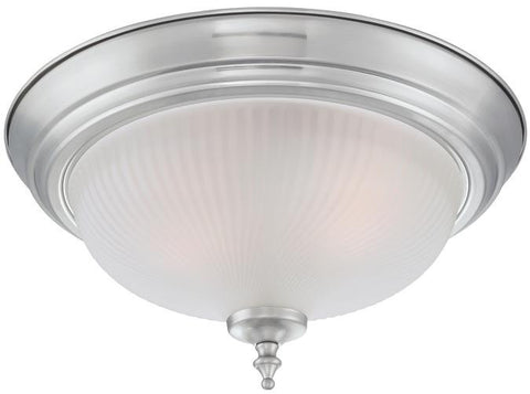 Two-Light Indoor Flush Ceiling Fixture, Brushed Nickel Finish with Frosted Swirl Glass, 2-Pack